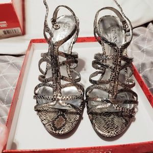 GUESS by Marciano Snake Print Leather Heels - 6.5